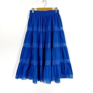 Vintage Royal Blue Tiered Skirt with Lace Trim
